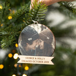 Personalised Christmas Engagement Photo BaubleClouds and Currents