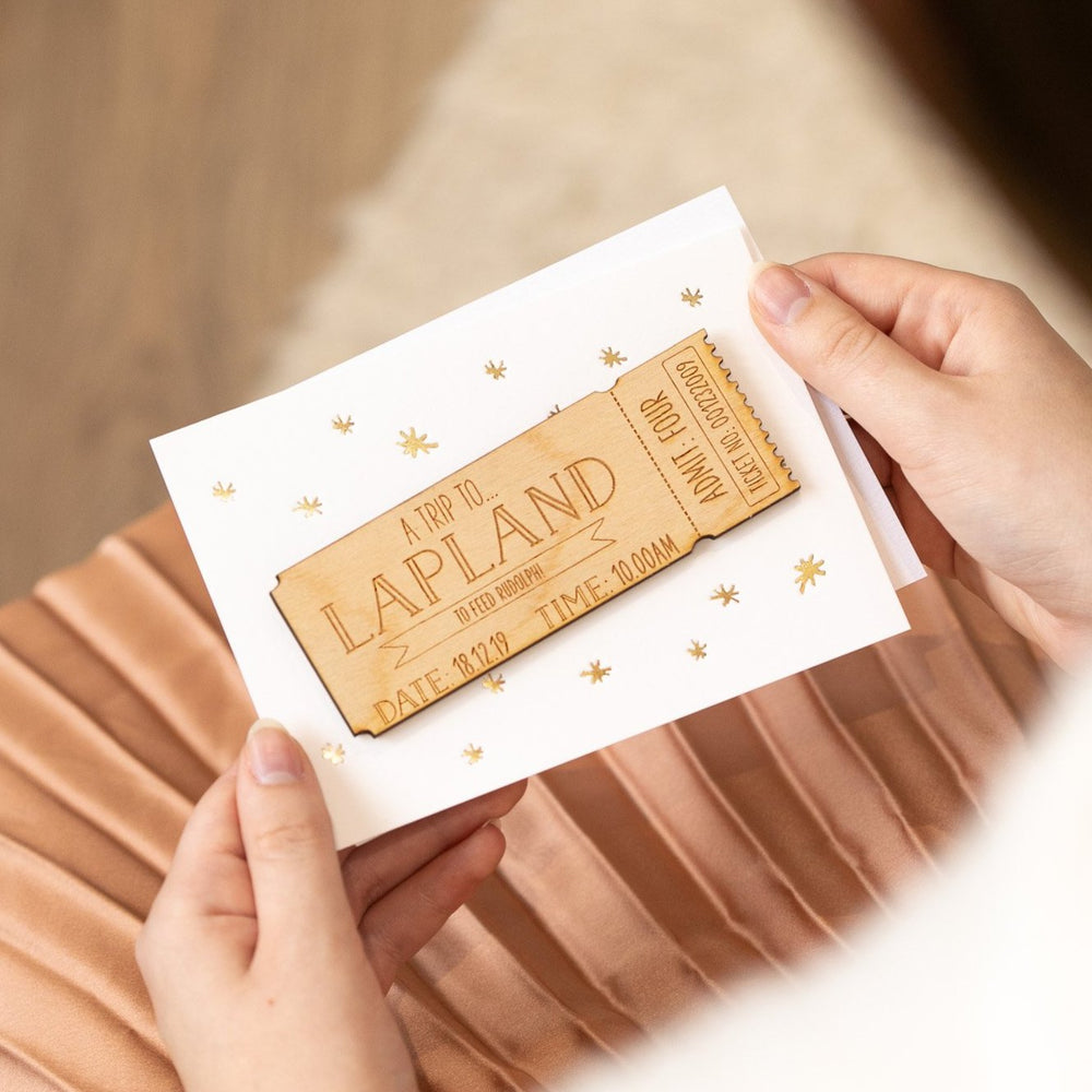 Personalised Wooden Ticket Christmas Card