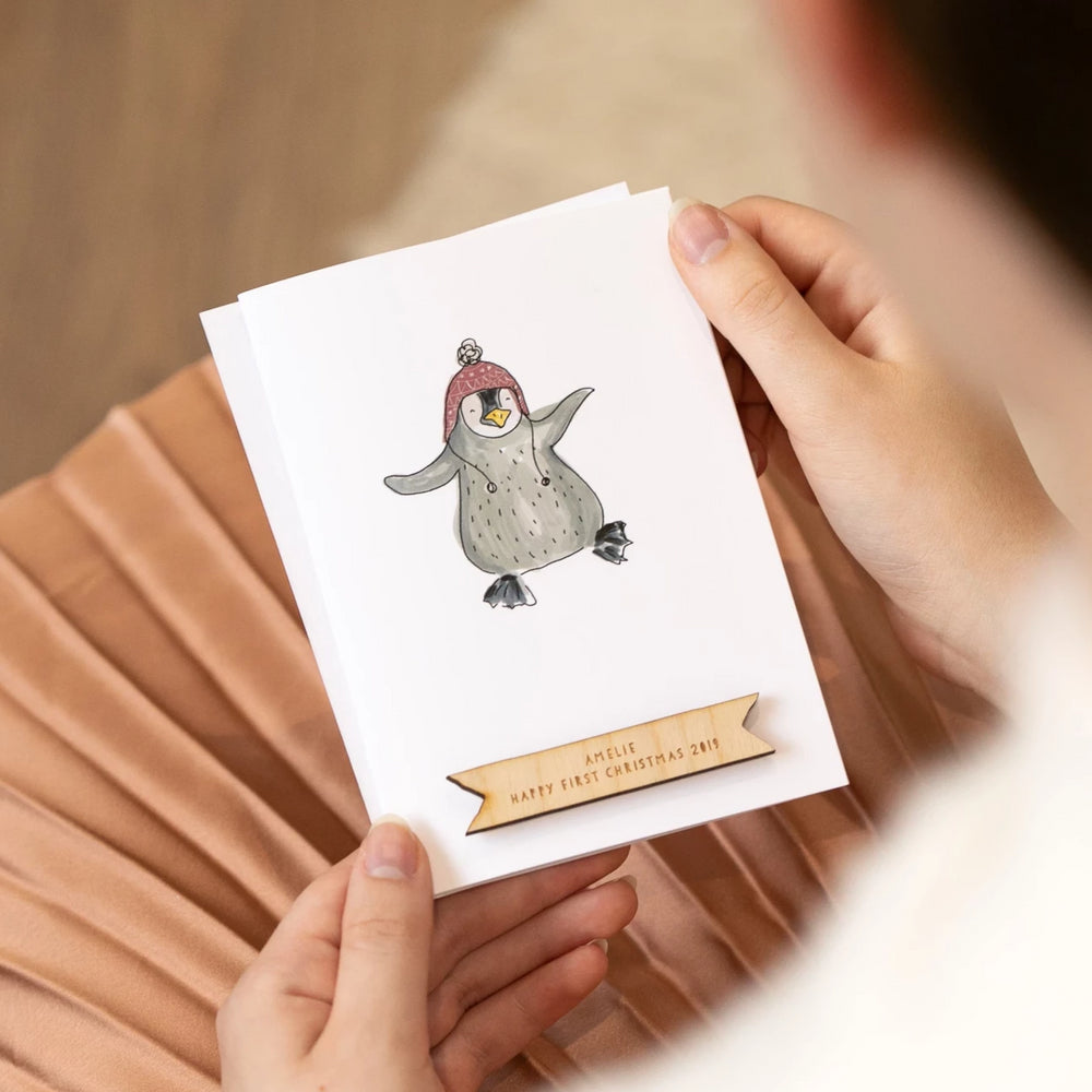 Personalised Penguin First Christmas Card