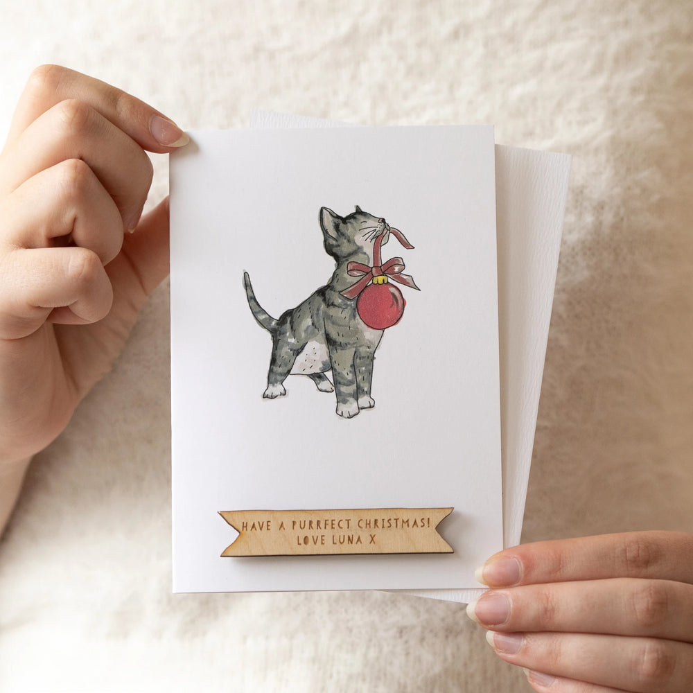 Personalised Merry Christmas Cat Card