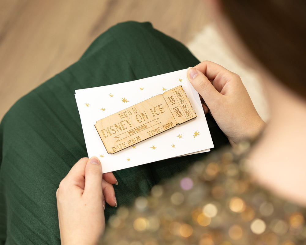 Personalised Wooden Ticket Christmas CardClouds and Currents
