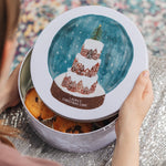 Personalised Snow Globe Christmas Cake TinClouds and Currents