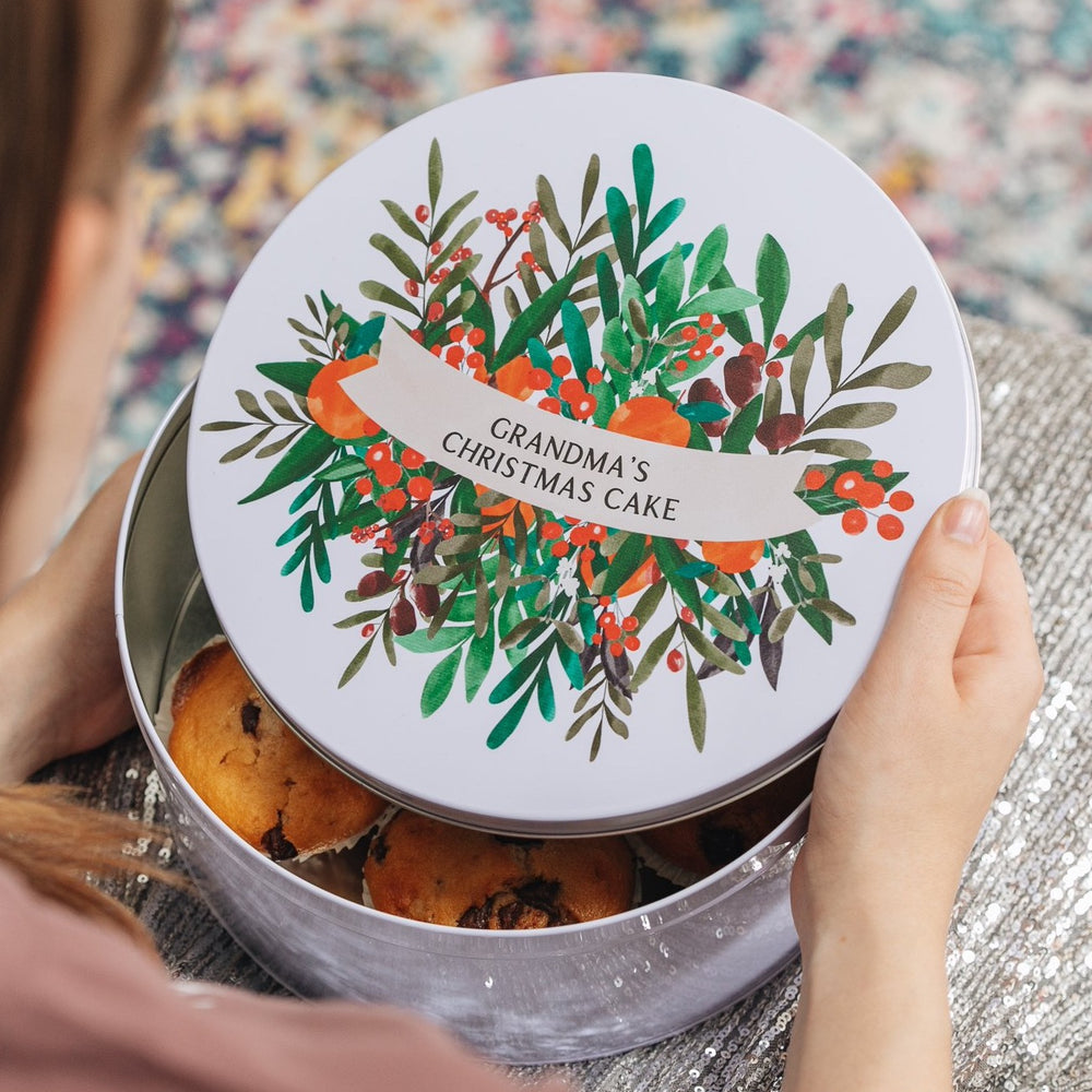 Personalised Floral Christmas Cake TinClouds and Currents
