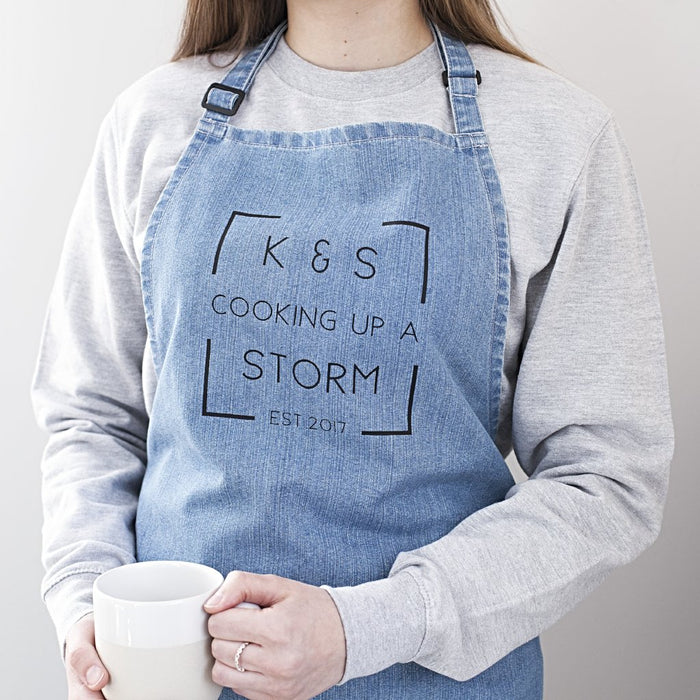 Couples Anniversary Denim Apron-clouds-and-currents