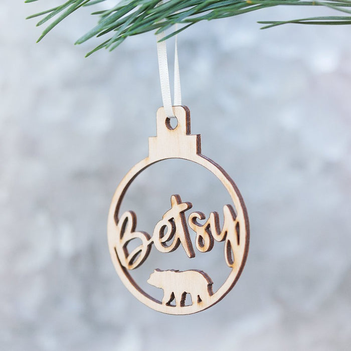 BEAR NAME BAUBLE TREE DECORATION-clouds-and-currents