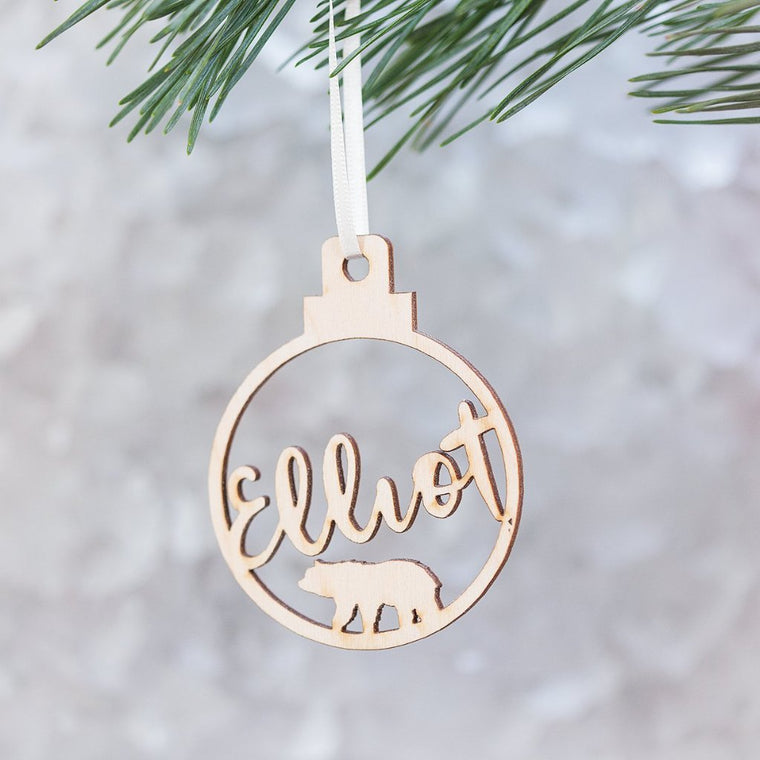 Bear Name Bauble Tree Decoration