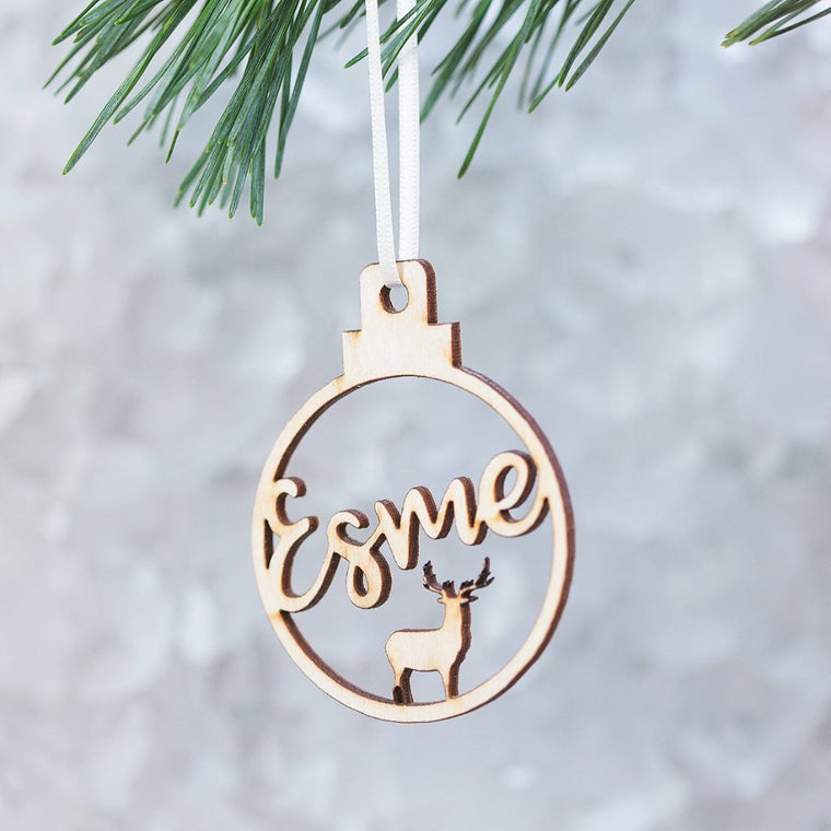 REINDEER NAME CHRISTMAS BAUBLE