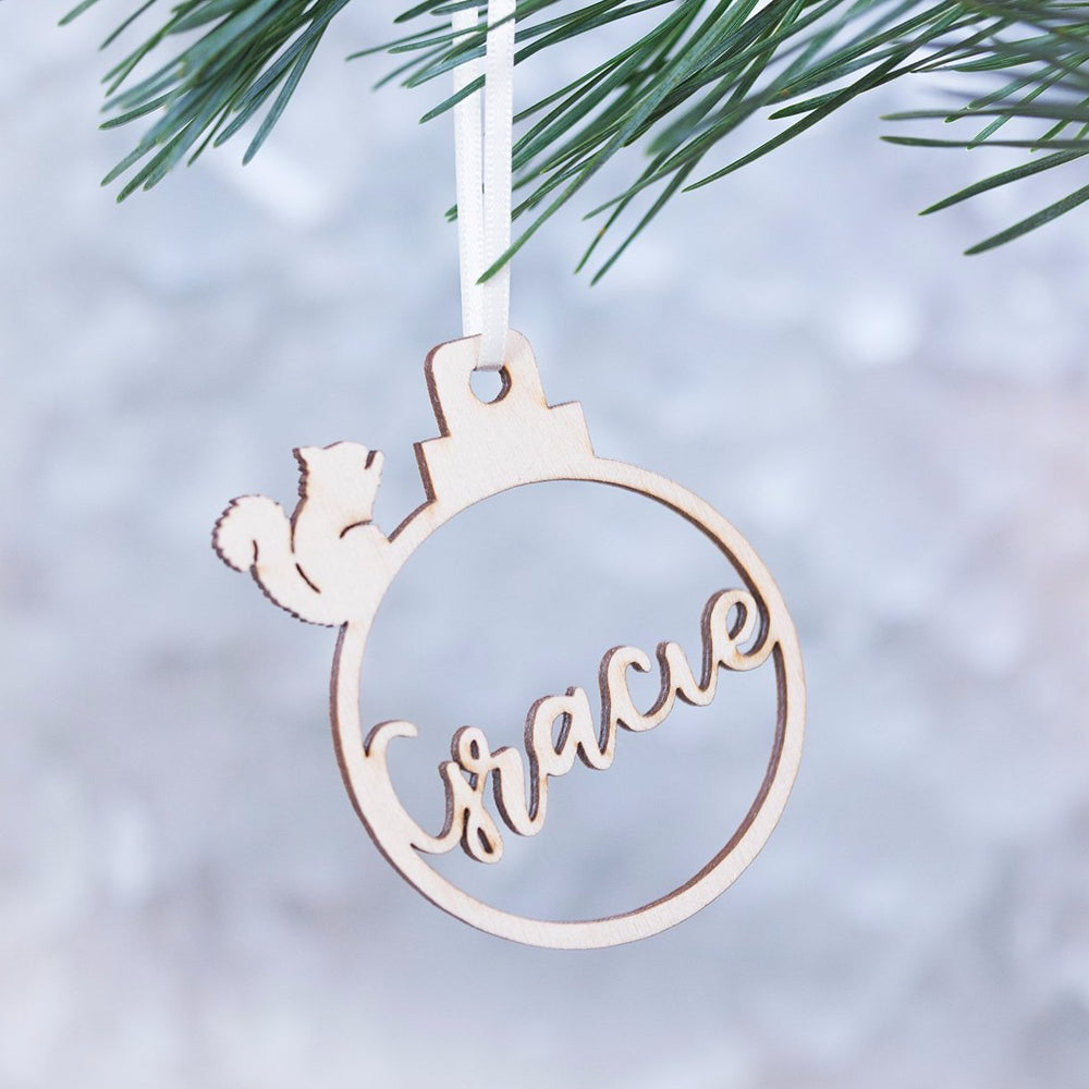 Personalised Squirrel Christmas Bauble