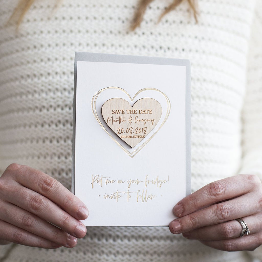 Luxury Save The Date Heart Magnet CardsClouds and Currents