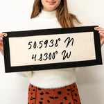 Personalised Coordinates Fabric Wall Art BannerClouds and Currents