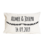 Couples Wedding Date Floral CushionClouds and Currents