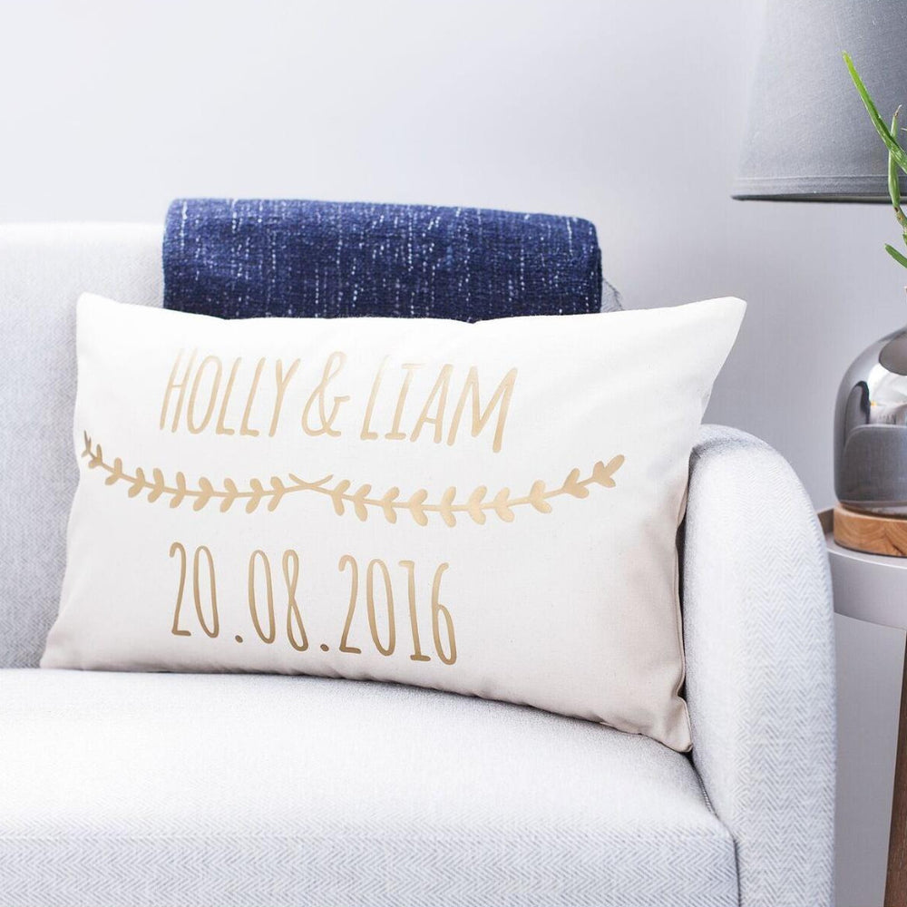 Couples Wedding Date Floral Cushion