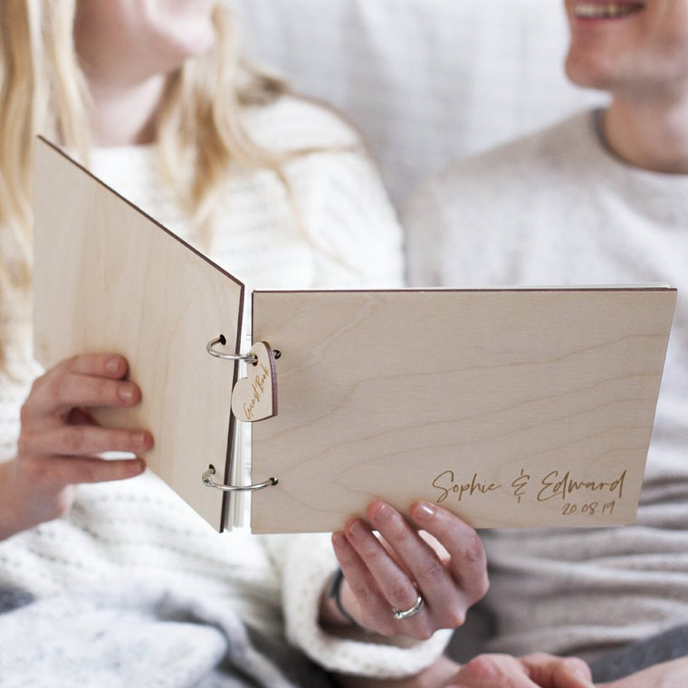 SIMPLE WOODEN WEDDING GUEST BOOK