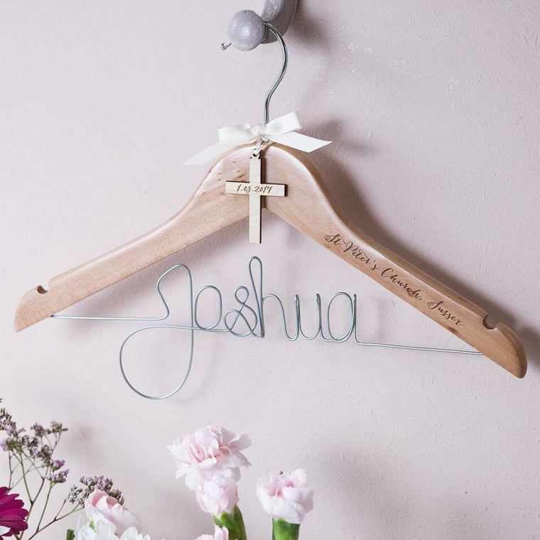 ENGRAVED CROSS CHRISTENING HANGER