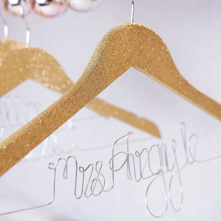 Glitter Wedding Dress Hanger-clouds-and-currents