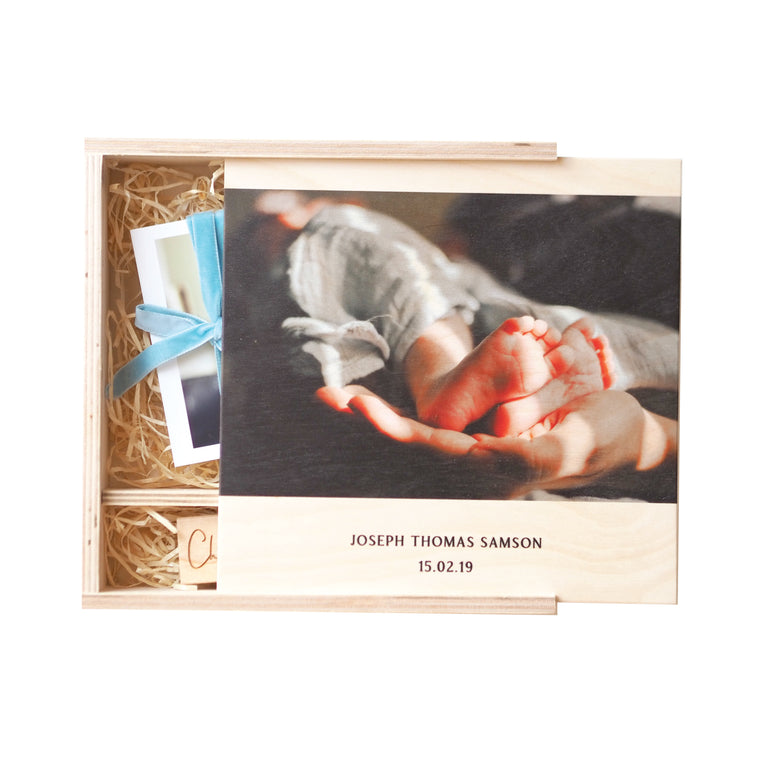 Personalised New Baby Photo Memory Box