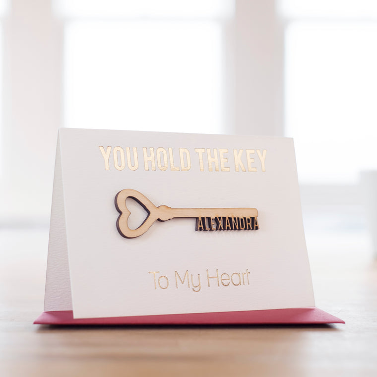 PERSONALISED 'KEY TO MY HEART' VALENTINES CARD