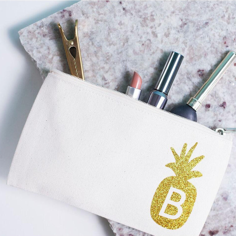 PINEAPPLE INITIAL MAKEUP BAG