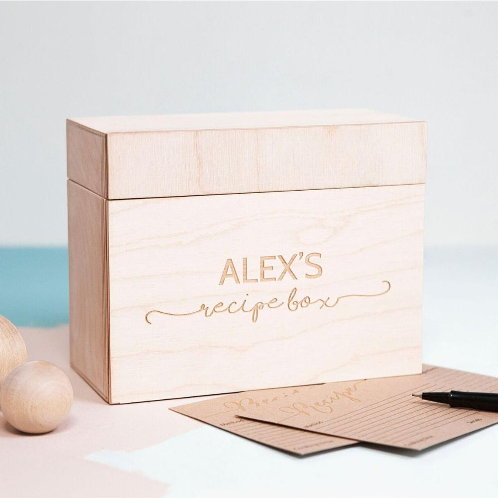 Personalised Wooden Recipe BoxClouds and Currents
