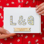Personalised Couples Initial Lights Wedding Card