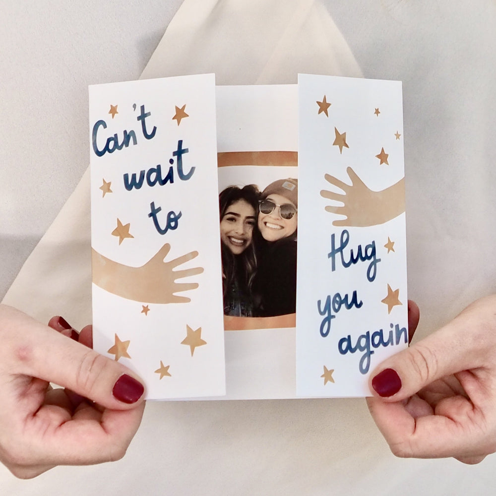 Personalised Can't Wait To Hug You Photo Keepsake Card