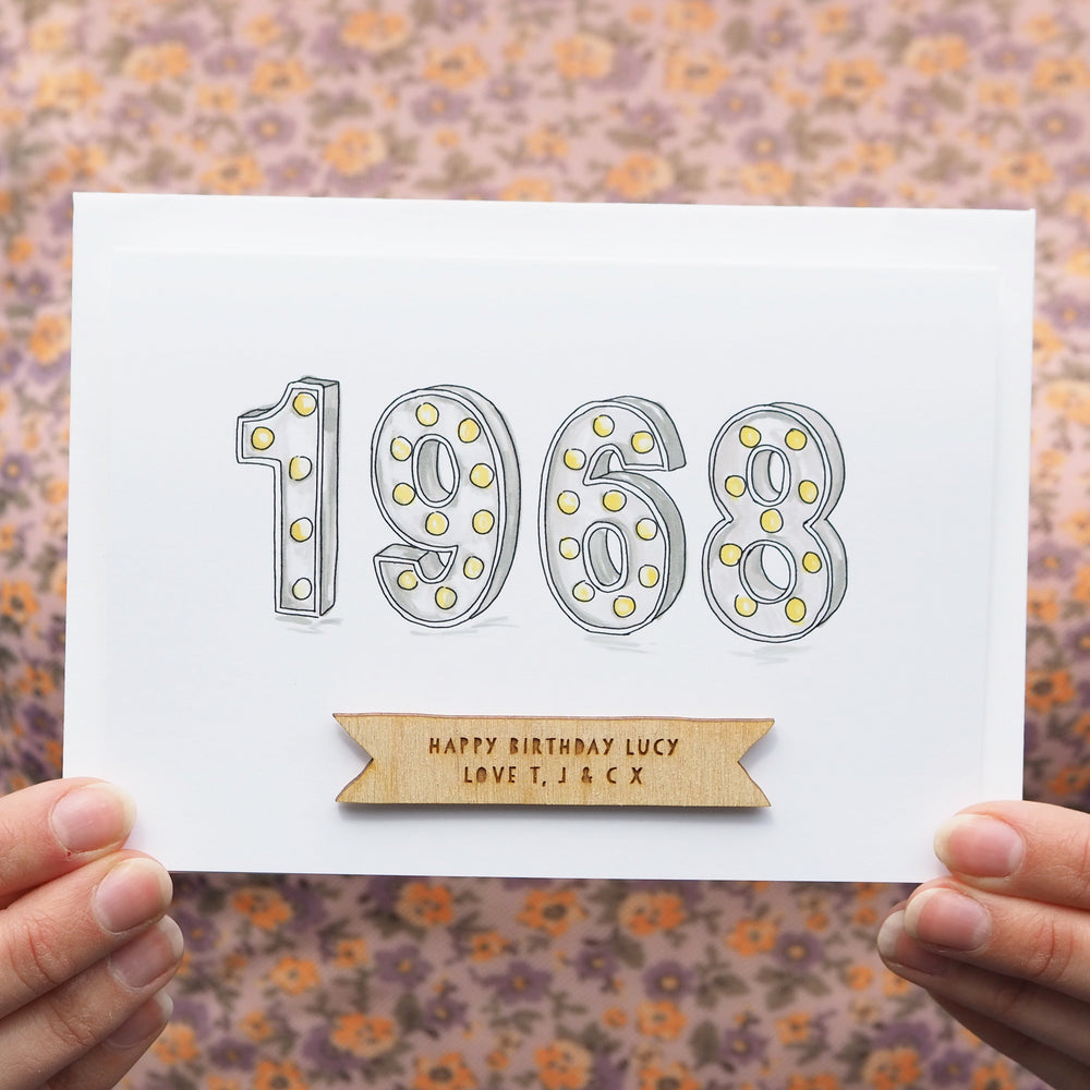 Personalised 'Year You Were Born' Lights Birthday Card