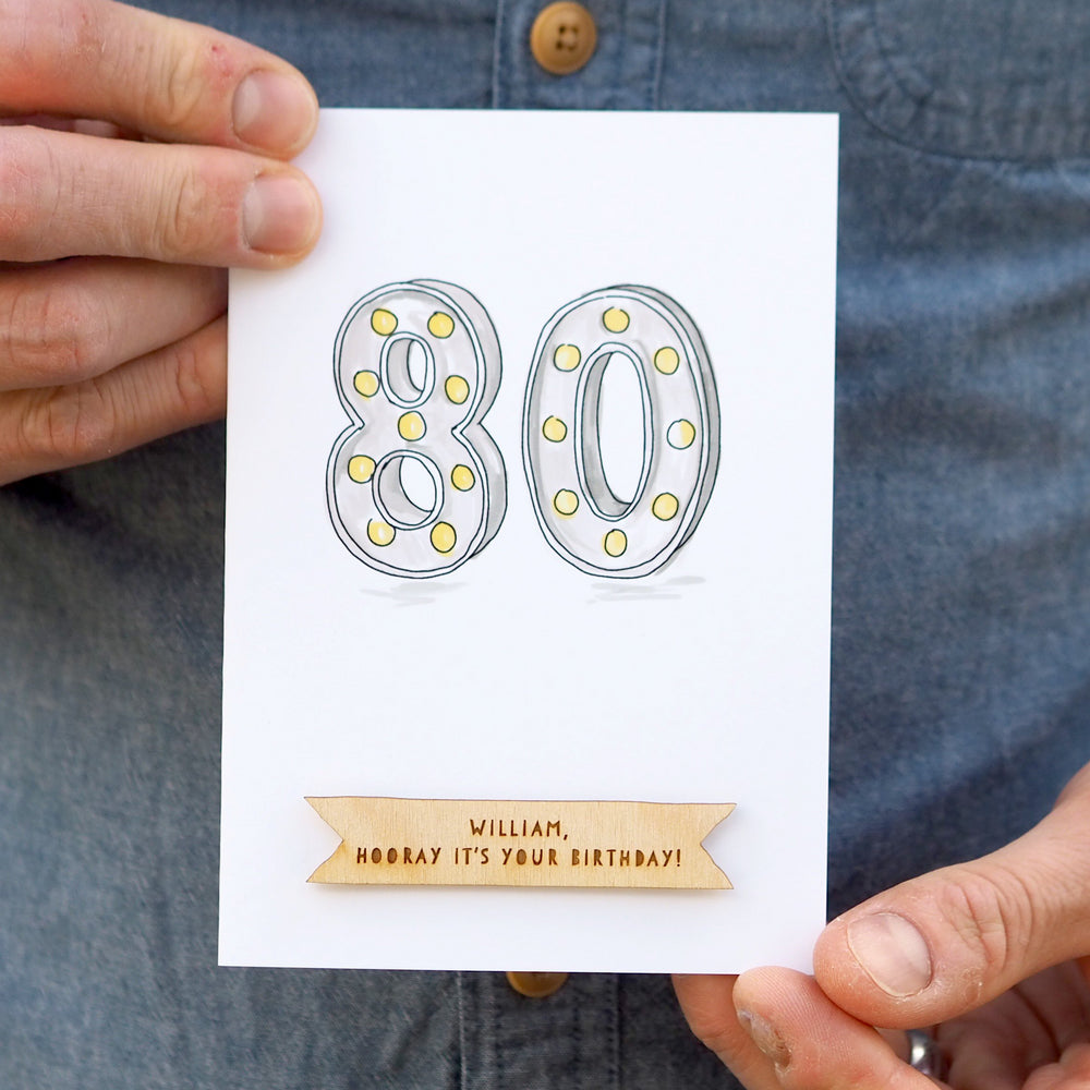 Personalised 80th Birthday CardClouds and Currents