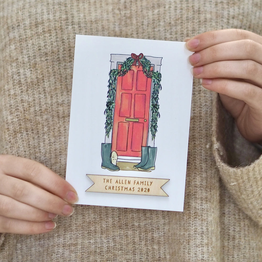 Personalised Door Christmas CardClouds and Currents