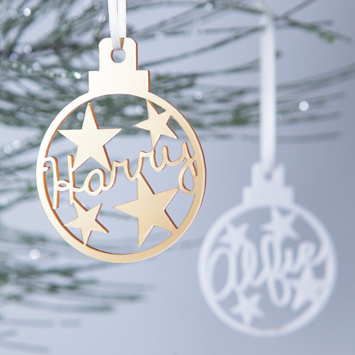 Personalised Christmas Star Name Bauble
