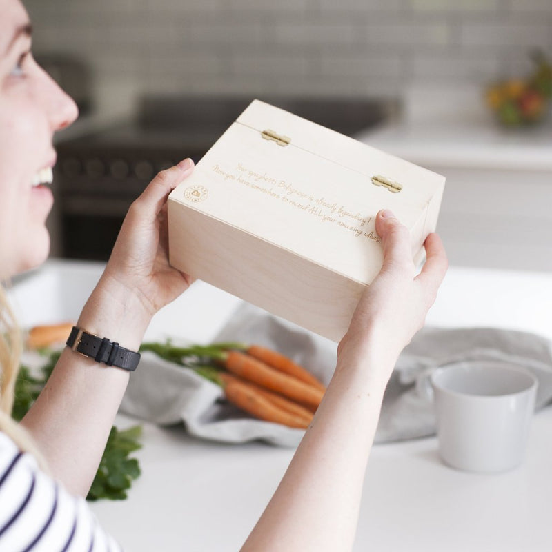 NEW HOME WOODEN RECIPE BOX-clouds-and-currents