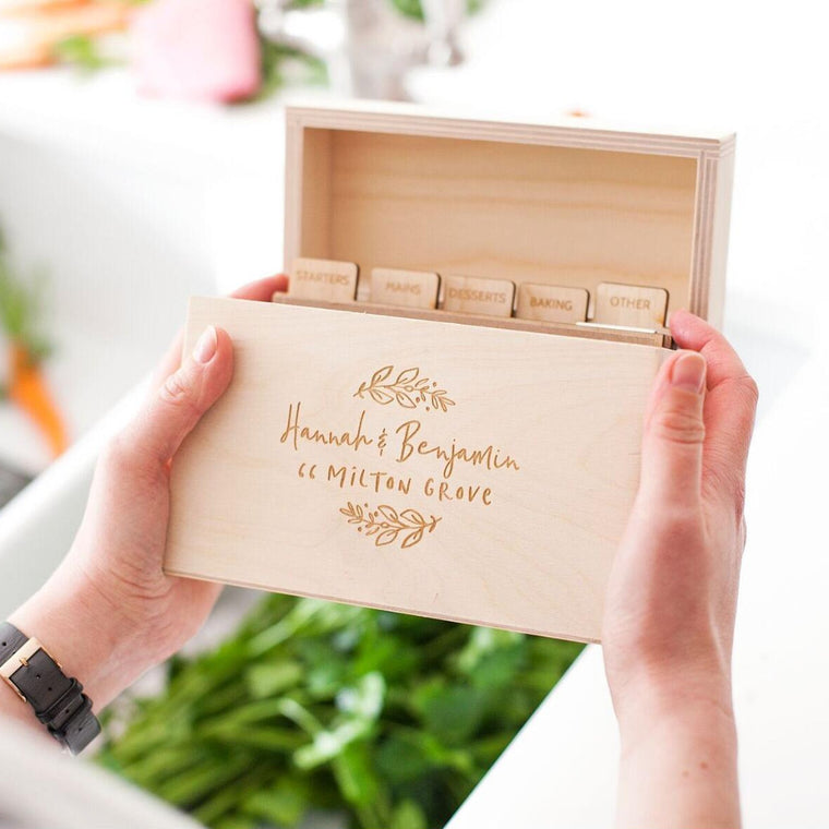 NEW HOME WOODEN RECIPE BOX