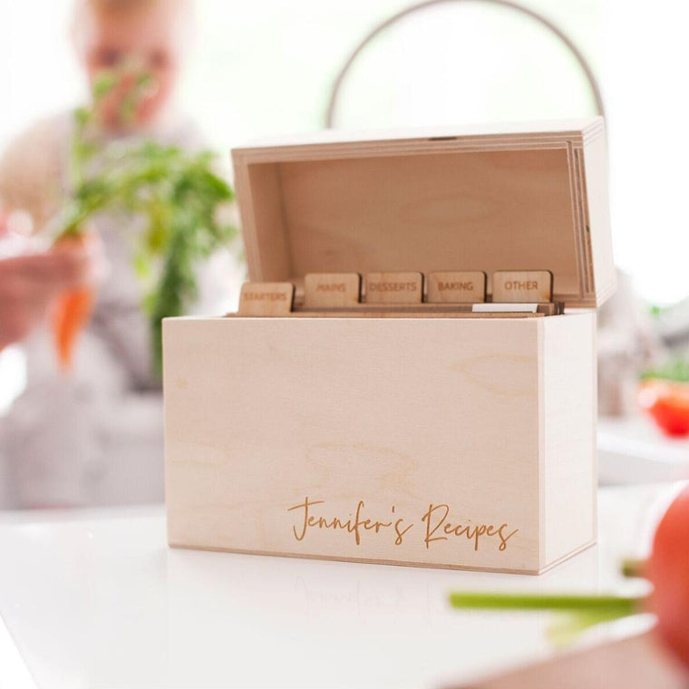 Modern Wooden Recipe Box