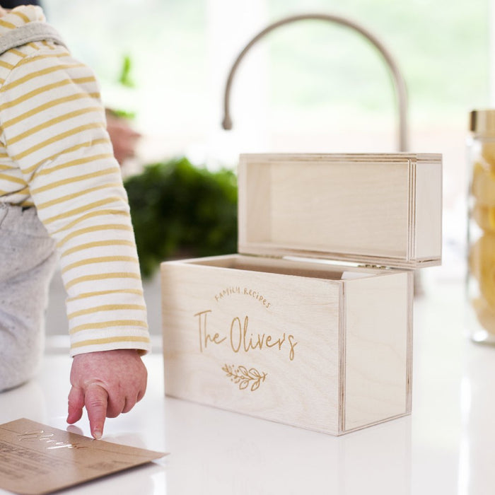 FAMILY FAVOURITES WOODEN RECIPE BOX-clouds-and-currents