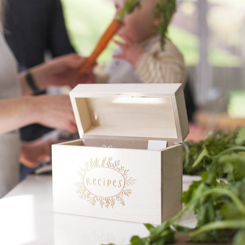 WOODEN KITCHEN RECIPE BOX-clouds-and-currents