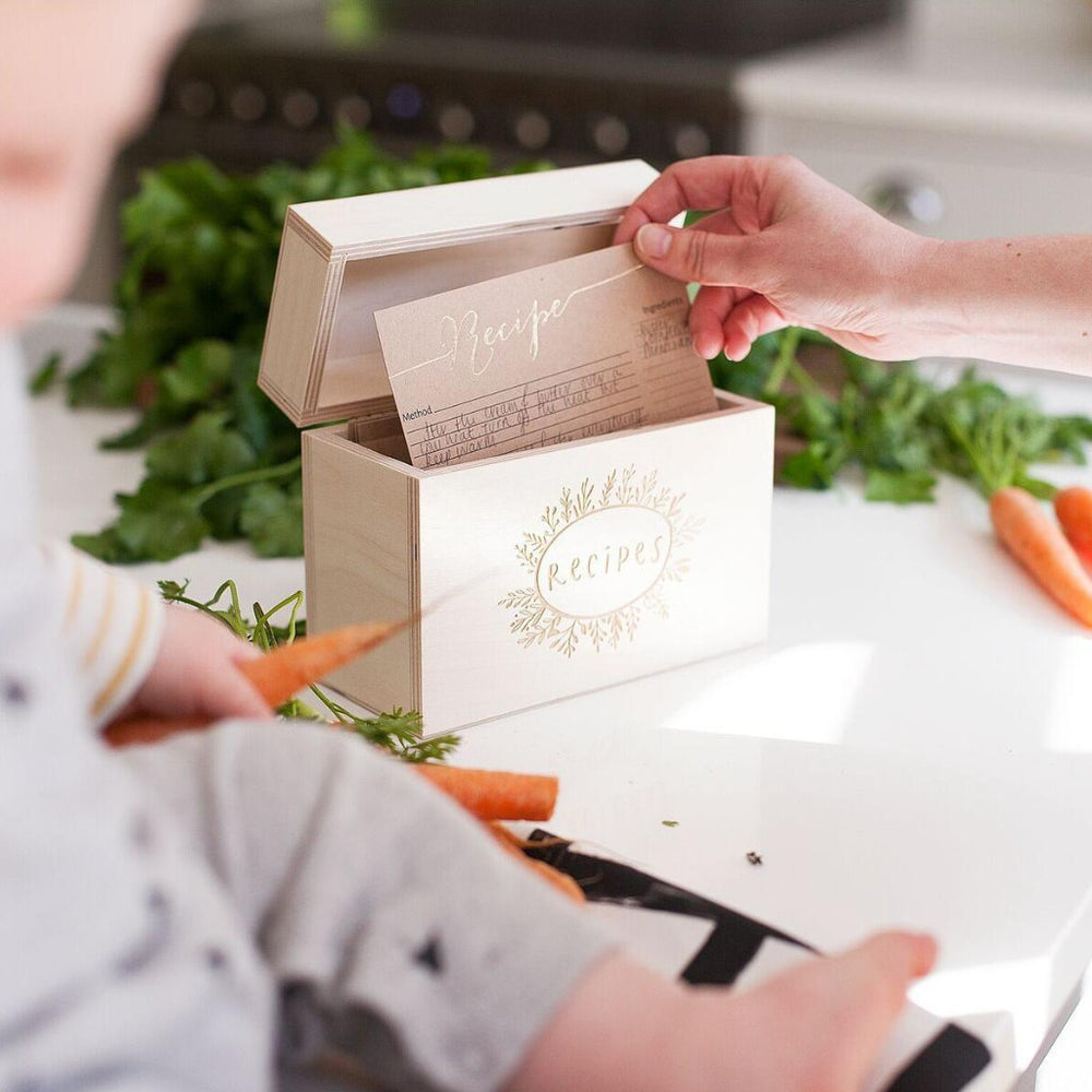 Wooden Kitchen Recipe Box