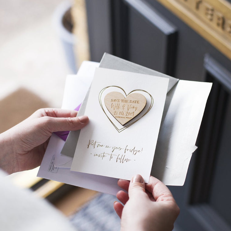LUXURY SAVE THE DATE HEART MAGNET CARDS
