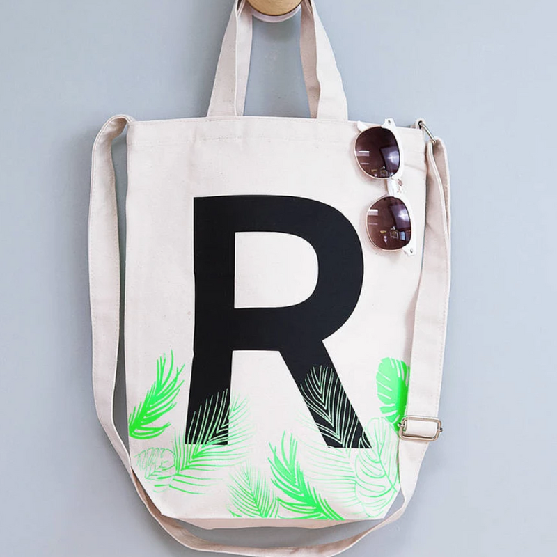 'H' INITIAL TROPICAL TOTE BAG-clouds-and-currents