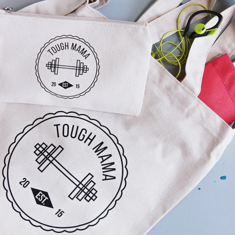 CLEARANCE 'TOUGH MAMA' EST 2015 MAKE UP & TOTE BAG SET