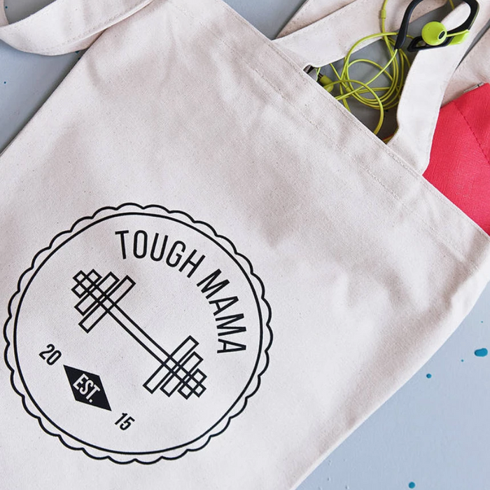 CLEARANCE Tough Mama EST 2015 Makeup & Tote Bag Set-clouds-and-currents