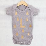 CLEARANCE Christmas Woodland Monogram Baby GrowClouds and Currents