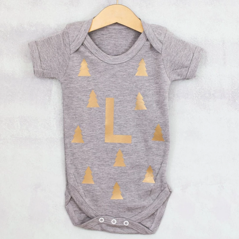 CLEARANCE Christmas Woodland Monogram Baby Grow