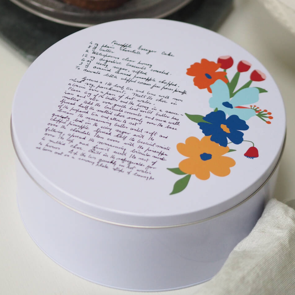 Personalised Handwritten Family Recipe Cake TinClouds and Currents