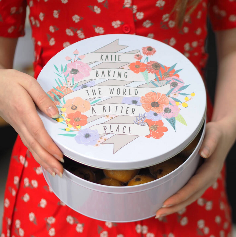 Personalised 'Baking The World A Better Place' Cake Tin