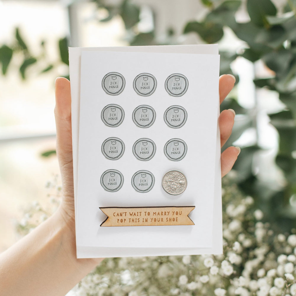 Personalised Something Old Sixpence Wedding Card