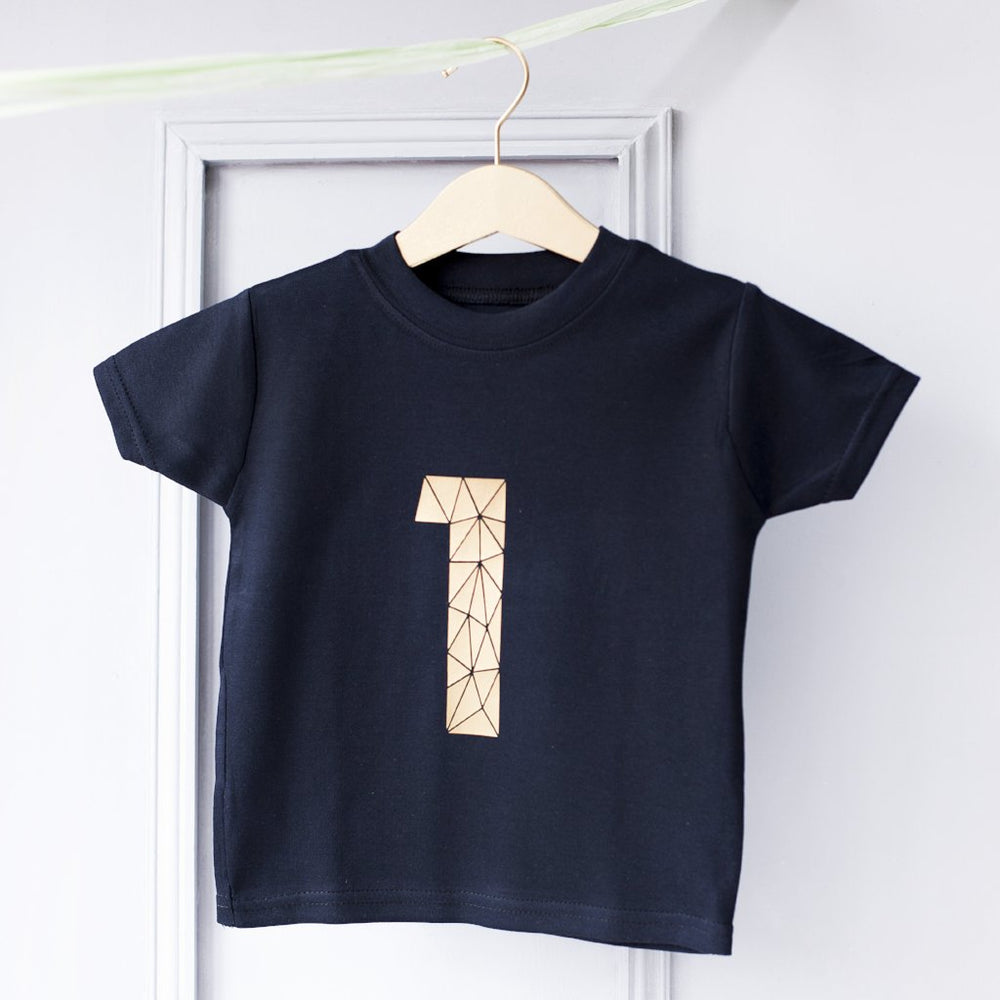 Geometric Number Kid's Birthday T-Shirt