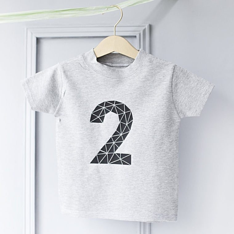 CLEARANCE Kids Geometric Age Number T Shirt-clouds-and-currents