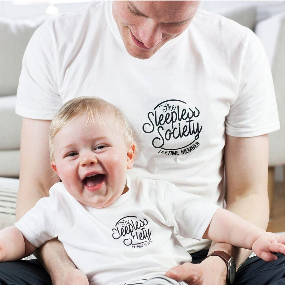 Daddy and Me Sleepless Society T Shirt Set