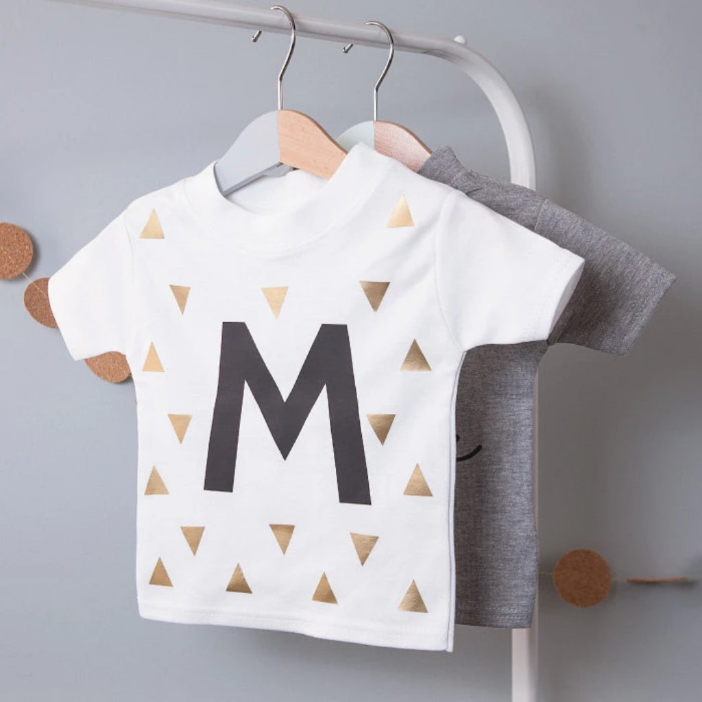 CLEARANCE PERSONALISED INITIAL KID'S T-SHIRT-clouds-and-currents