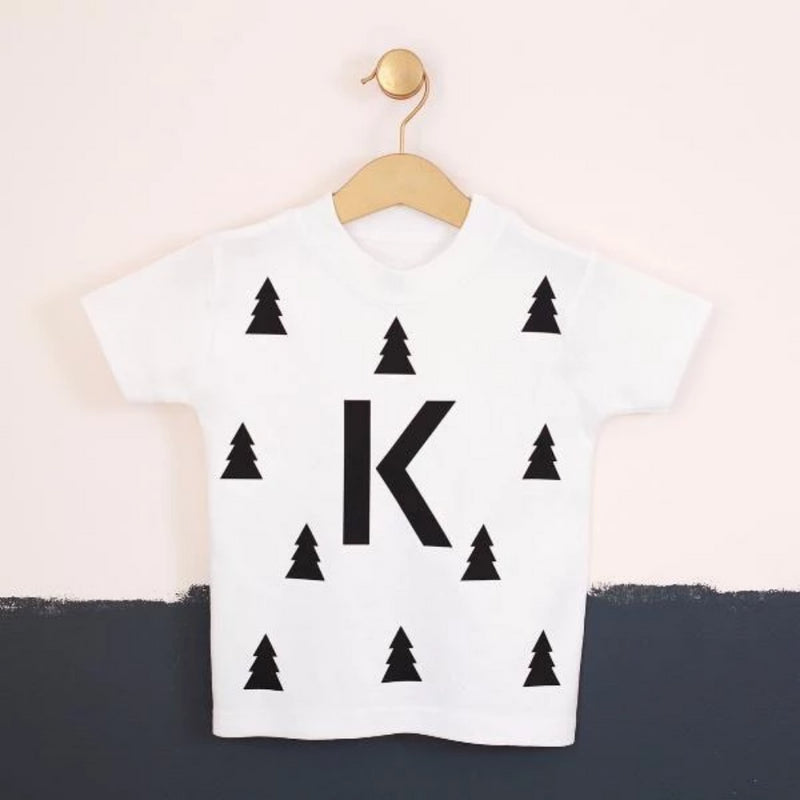 CLEARANCE 'K' KIDS CHRISTMAS WOODLAND TREE T-SHIRT-clouds-and-currents