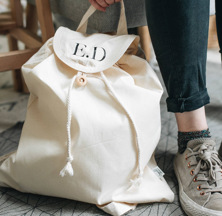 Personalised Monogram Initials Organic Backpack
